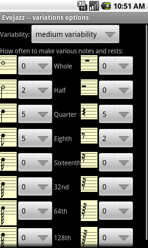 EvoJazz notes preferences screenshot